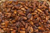 Dates on sale at a market stall — Stock Photo