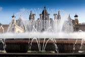 Magic Fountain with Museu Nacional DArt de Catalunya — Stock Photo