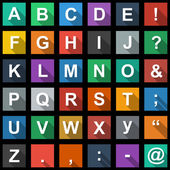 Alphabet, text Symbols Flat Icons Set with long shadow — Stock Vector
