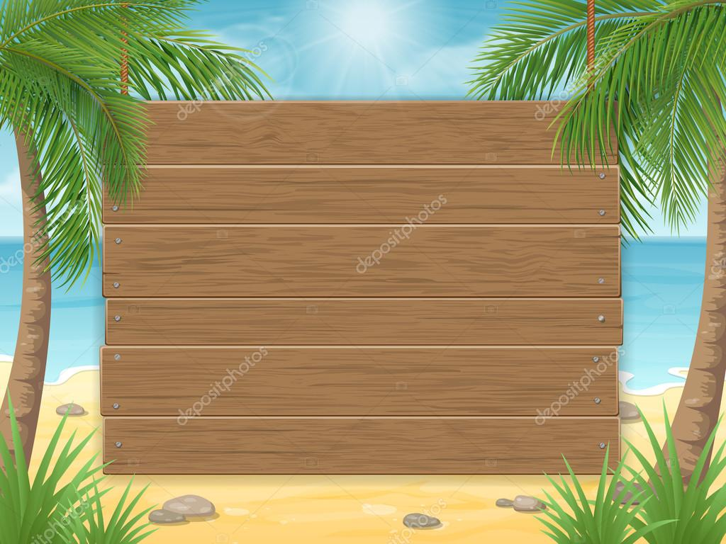 Wooden Sign On Tropical Beach With Palm Tree Stock