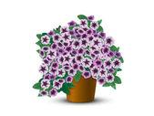 Bush petunias in a pot — Stock Vector