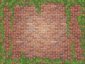 Ivy winds on the red brick wall background — Wektor stockowy