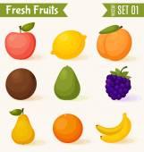 Vruchten pictogramserie. kleurrijke sjabloon voor koken, restaurant menu en vegetarisch voedsel — Stockvector