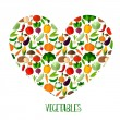 Vegetables background with heart — Stock Vector #74498385