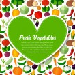 Vegetables background with heart — Stock Vector #74498387
