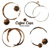 Isolated vector illustration of coffee cup stains. — Stock Vector