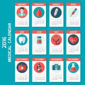 Medical calendar for new 2016 year week starts on Sunday. — Stock Vector