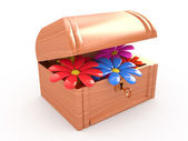 Open treasure box with flowers, 3D — Stock Photo
