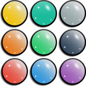 Set of colorful spherical glossy buttons — Stock Vector