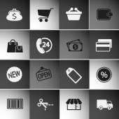 Markt icons set — Stockvektor