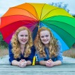 Two girls lying in nature under colorful umbrella — Stock Photo #76057987