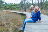 Two sisters sitting on wooden path in forest — Stock Photo