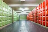 Corridor with lockers in school building — Stock Photo