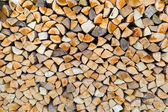 Stack of firewood as tree trunks — Stock Photo