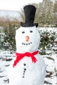 Snowman wearing black hat and shawl — Stock Photo