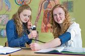Two dutch teenage girls measuring blood pressure in biology less — Stock Photo