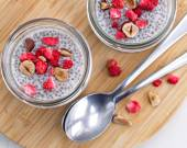 Healthy trend food vanilla chia pudding — Stock Photo