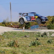 Постер, плакат: French driver Sebastien Ogier and co driver Julien Ingrassia steer their Volkswagen Polo R WRC during the 2nd stage of the Portugal