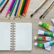Blank paper, Acrylic paint and colorful pencils on the wood table - Top view — Stock Photo #56484457