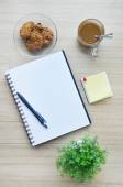 Blank paper and office tools on the wood table - Top view — Stock Photo
