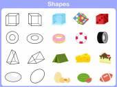 Studium tvarů s objektem pro děti — Stock vektor