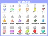 Learning the 3D shapes for kids — Vettoriale Stock