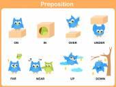 Preposition of motion for preschool — Stock Vector