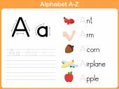 Alphabet Tracing Worksheet: Writing A-Z — Stockvektor