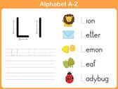 Alphabet Tracing Worksheet: Writing A-Z — ストックベクタ
