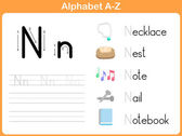 Alphabet Tracing Worksheet: Writing A-Z — Stock Vector