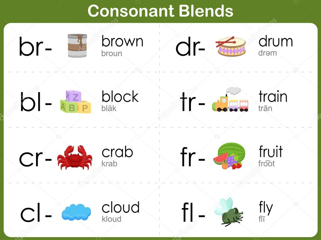 Consonant Blends Worksheet for kids Vector aekikuis – Consonant Blends Worksheets for Kindergarten