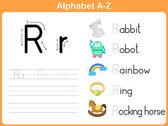 Alfabe izleme çalışma: Yazma A-Z — Stok Vektör