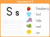 Alphabet Tracing Worksheet: Writing A-Z — Stockvektor