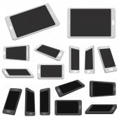 Multiple view Mobile Devices. Set of mobile with blank screen isolated on white. — Vettoriale Stock