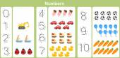 Number : counting and writing numbers to 10 for kids — Stok Vektör