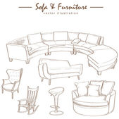 Furniture collection sketch drawing vector — Stock Vector