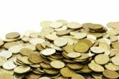 A lot of russian coins over white — Stok fotoğraf