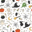 Happy Halloween. Seamless pattern with pumpkins, skulls, cats, spiders web, ghosts, monsters, witch hat. Trick or treat. Vector illustration. Background. — Stock Vector