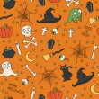 Happy Halloween. Seamless pattern with pumpkins, skulls, cats, spiders web, ghosts, monsters, witch hat. Trick or treat. Vector illustration. Background. — Stock Vector #52000843