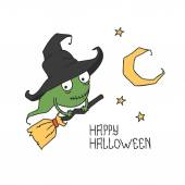 Happy Halloween. Witch on a broomstick. Trick or treat. Vector illustration. Background. — Stock Vector