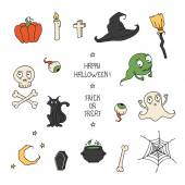 Happy Halloween. Set with pumpkins, skulls, cats, spiders web, ghosts, monsters, witch hat. Trick or treat. Vector illustration. Background. — Stock Vector