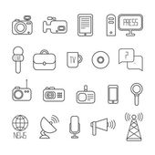 Set of flat colorful vector journalism icons. Mass media. Communication. Illustration consists of computer, news, camera, microphone, radio. Infographics design web elements. — Stock Vector