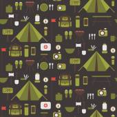 Seamless pattern of flat colorful vector camping equipment symbols and icons. — Stock Vector