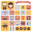 Set of movie design elements and cinema icons in flat style. Vector illustration. — Stock Vector #52581275