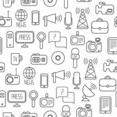 Seamless pattern of of flat colorful vector journalism icons. Mass media. Communication. Illustration consists of computer, news, reporter, camera, microphone, radio. Infographics design web elements. — Stock Vector