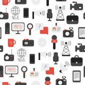Seamless pattern of of flat colorful vector journalism icons. Mass media. Communication. Illustration consists of computer, news, reporter, camera, microphone, radio. Infographics design web elements. — Stockvektor