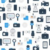 Seamless pattern of of flat colorful vector journalism icons. Mass media. Communication. Illustration consists of computer, news, reporter, camera, microphone, radio. Infographics design web elements. — Vecteur