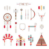 Vector colorful ethnic set with dream catcher, feathers, arrows and american indian chief headdress in native style. Decorative elements. Tribal native American set of symbols. — Vettoriale Stock