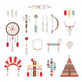 Vector colorful ethnic set with dream catcher, feathers, arrows and american indian chief headdress in native style. Decorative elements. Tribal native American set of symbols. — Stock Vector