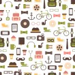 Seamless pattern of hipster vector colorful style elements and icons set for retro design. Infographic concept background. Illustration in flat style. — Stock Vector #53384677
